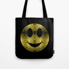 Beautiful Yellow Gold sparkles Happy Smiley Tote Bag