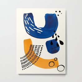 Fun Colorful Abstract Mid Century Minimalist Navy Blue Yellow Organic Shapes Water Drops Patterns Metal Print