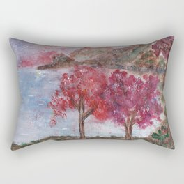 Watercolor Brilliant Night Landscape Rectangular Pillow
