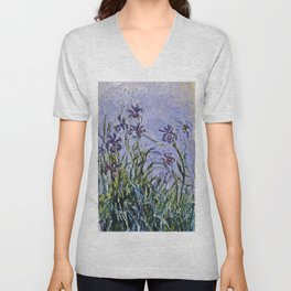 Claude Monet  -  Iris Mauves Unisex V-Neck