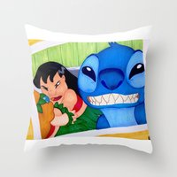 lilo and stitch Throw Pillows featuring Lilo & Stitch Selfie by Olivia Iman