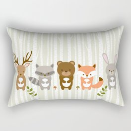 Cute Woodland Forest Animals Rectangular Pillow