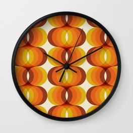 Orange, Brown, and Ivory Retro 1960s Wavy Pattern Wall Clock