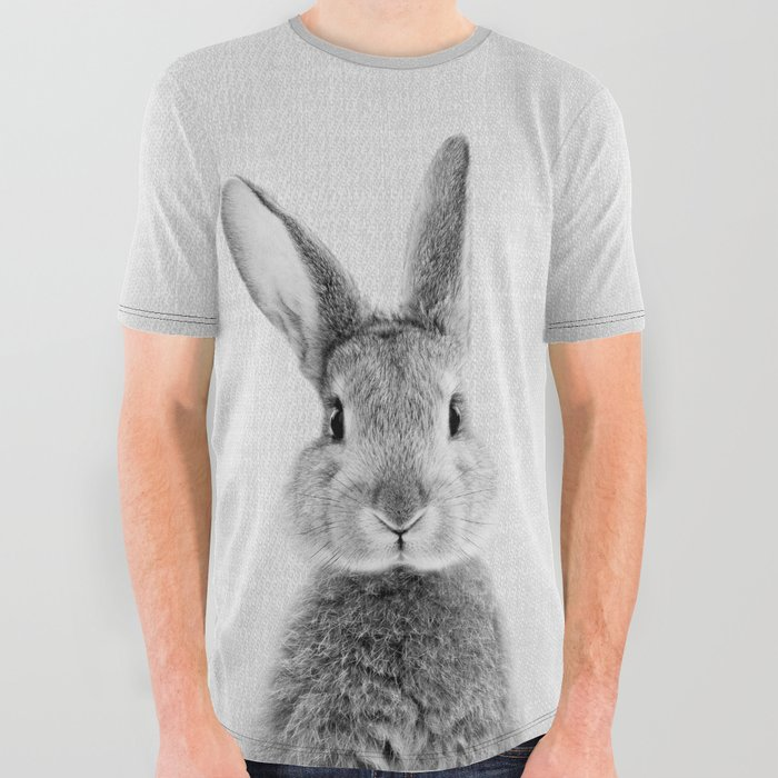Rabbit__Black_&_White_All_Over_Graphic_Tee_by_Gal_Design__Large