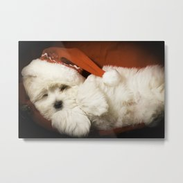 Sleepy Santa Puppy Metal Print