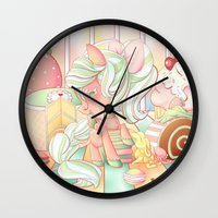 mlp Wall Clocks featuring Strawberry Dollop MLP by Whimsette