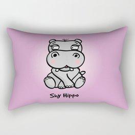 Shy Hippo Rectangular Pillow