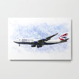 One World Boeing 747 Art Metal Print