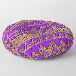 Ethnic  Golden Pattern  Swirl on Purple Leather Floor Pillow