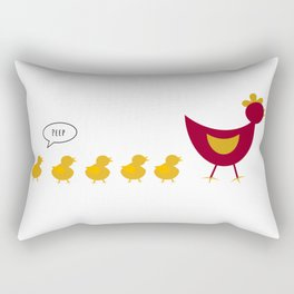 Hen with 5 Chicks Rectangular Pillow