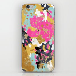 Laurel - Abstract painting in a free style with bold colors gold, navy, pink, blush, white, turquois iPhone Skin