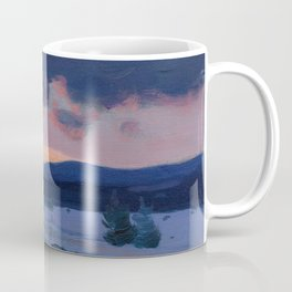Clarence Gagnon - Crépuscule d'hiver - Winter Twilight, Baie St. Paul - Canadian Oil Painting Coffee Mug