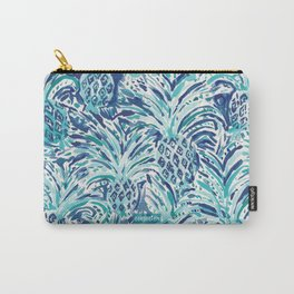 PINEAPPLE WAVE Blue Painterly Watercolor Carry-All Pouch