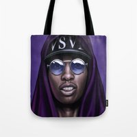swag Tote Bags featuring Purple Swag by Andrea Mangiri
