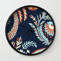 flora Wall Clocks featuring Flora by Tracie Andrews