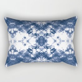Shibori Tie Dye 4 Indigo Blue Rectangular Pillow