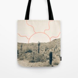 Wonder Rift // Abstract Vintage Mountains Summer Sun Surfer Beach Vibes Drawing Happy Wall Decor Tote Bag