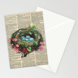Bird Nest on Dictionary Page Stationery Cards