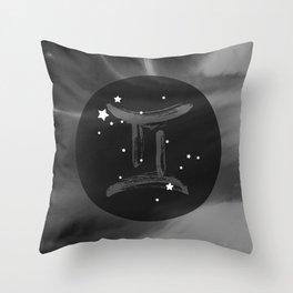 Gemini Zodiac Watercolor Throw Pillow