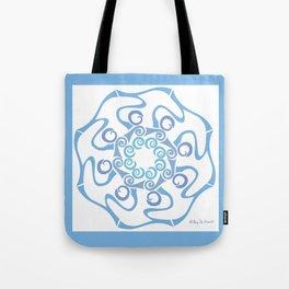 Hope Flower Mandala - Blue Framed Tote Bag