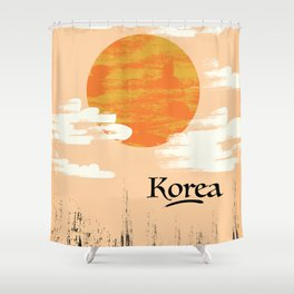 Korean Setting sun block art Shower Curtain