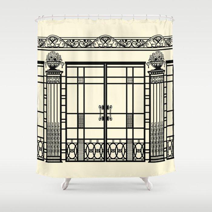 ART DECO NOUVEAU IRONWORK Black And Cream Shower Curtain