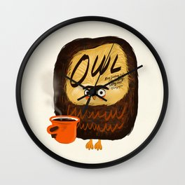 The owl is a coffeeholic. Wall Clock