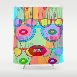 At a glance alien Shower Curtain