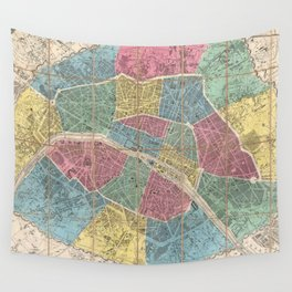Vintage Map of Paris France (1863) Wall Tapestry