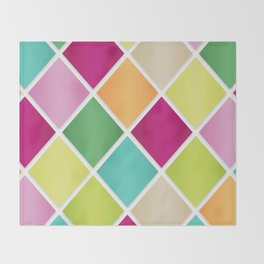 Modern Diamond Geometric Pattern Design // Pink Orange Green Blue Throw Blanket