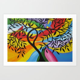 tree of life print in rainbow colors freamed or unframed design designs bright colorful art Art Print