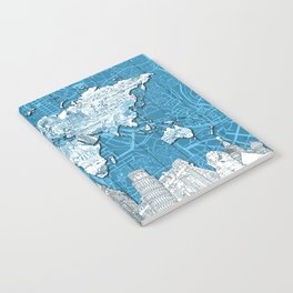 world map city skyline 10 Notebook