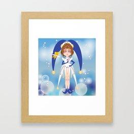 Mini Me Stars: Blue Sakura Framed Art Print