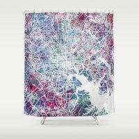 baltimore Shower Curtains featuring Baltimore by MapMapMaps.Watercolors