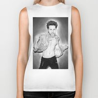 30 seconds to mars Biker Tanks featuring Jared Leto (30 Seconds To Mars) Portrait. by Carl Merrell Art