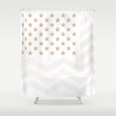 GOLD Stars & Stripes Shower Curtain