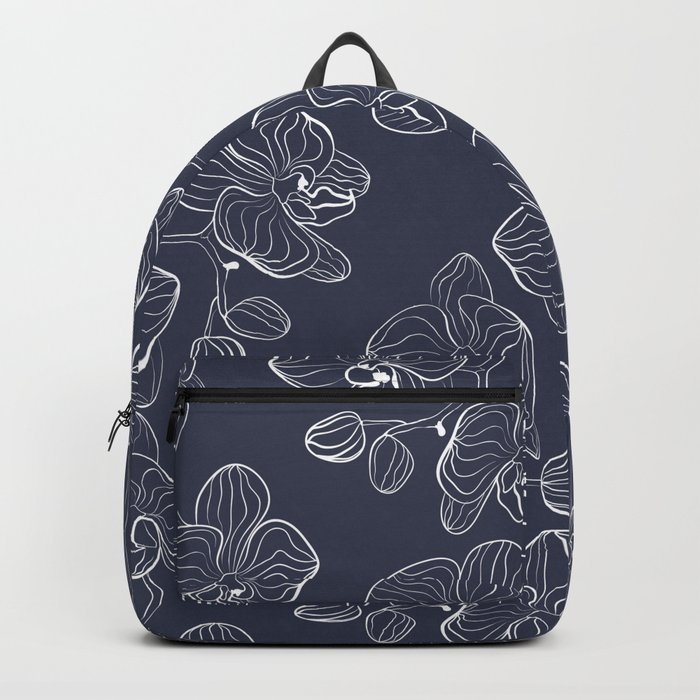 Retro . Orchid flowers on a blue background . Backpack