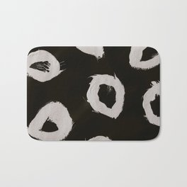 Round, Abstract, White & Black Bath Mat