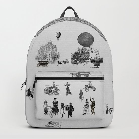 city view from window in 1898 vintage Victorian Backpack
