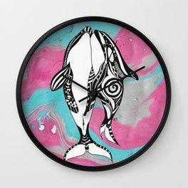Orca Whales Tribal Teal Pink Marble Wall Clock