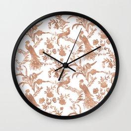 Rose gold peacock garden Wall Clock