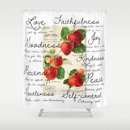 Strawberries and Fruit of the Spirit Explained  Shower Curtain