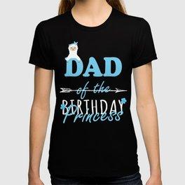 Dad Of The Birthday Princess Llamazing Girl Llama Party print T-shirt