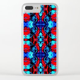Red Blue Abstract Pattern Clear iPhone Case