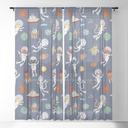 Space Cats Sheer Curtain