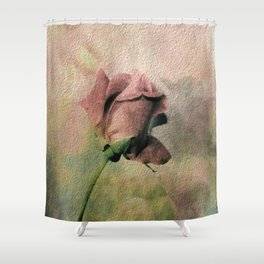 Painterly Pink Rose Bud Shower Curtain