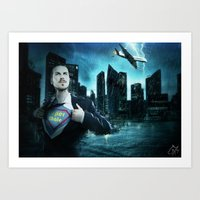 super heroes Art Prints featuring Heroes by Nessendyl
