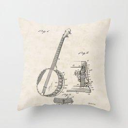 Banjo Vintage Patent Hand Drawing Throw Pillow