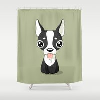 french bulldog Shower Curtains featuring French Bulldog by Freeminds