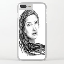Flow (BW) - Woman Sketch Clear iPhone Case